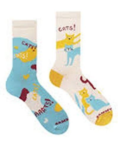 Бежевые хлопковые носки высокие с рисунком Sammy Icon