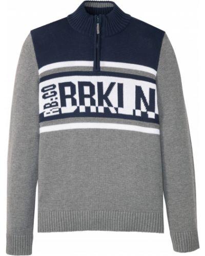 Серый пуловер с вырезом на молнии Bonprix