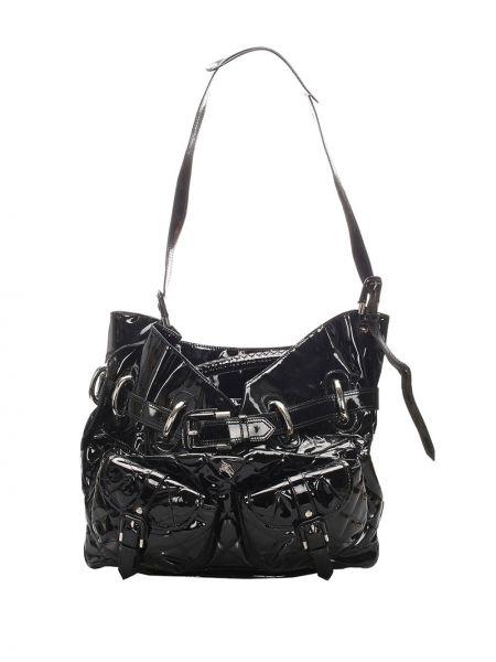 Кожаная черная стеганая сумка на плечо Burberry Pre-owned