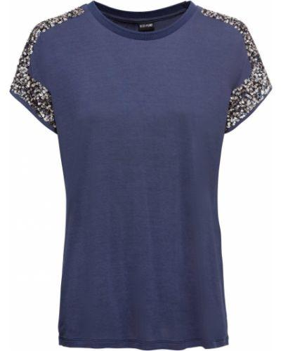 Блузка с коротким рукавом с пайетками синяя Bonprix
