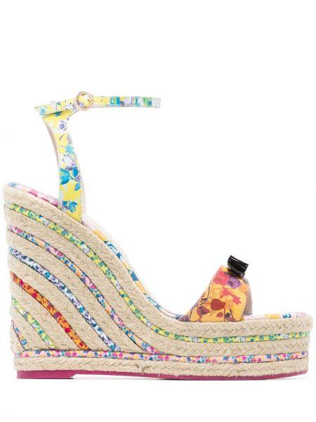 Sandały na koturnie z klamrami różowy Sophia Webster