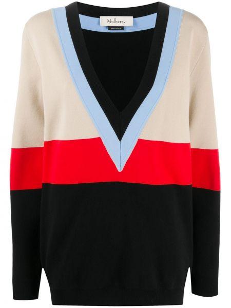 С рукавами черный свитер в рубчик из вискозы Mulberry