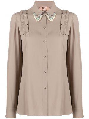 Шелковая блузка с жемчугом на пуговицах N°21