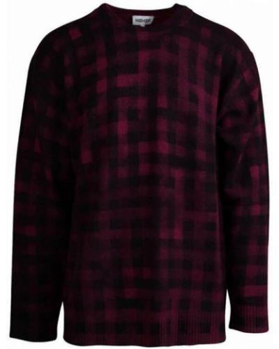 Fioletowy sweter w kratę Kenzo