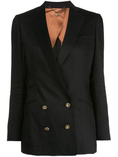 Шерстяной черный пиджак с карманами двубортный Maurizio Miri