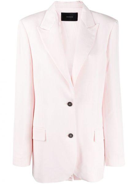 Розовый классический пиджак оверсайз с карманами из вискозы Frenken