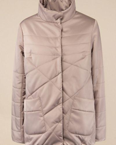 Бежевая утепленная куртка с воротником каляев
