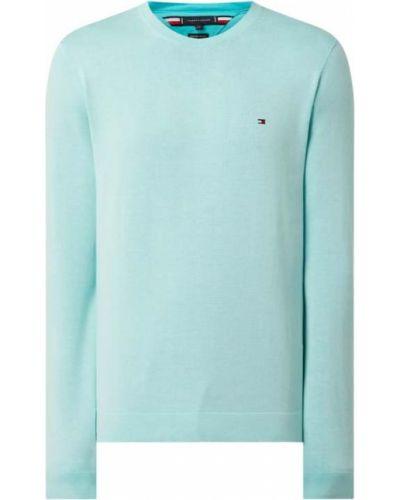 Sweter bawełniany - turkusowy Tommy Hilfiger