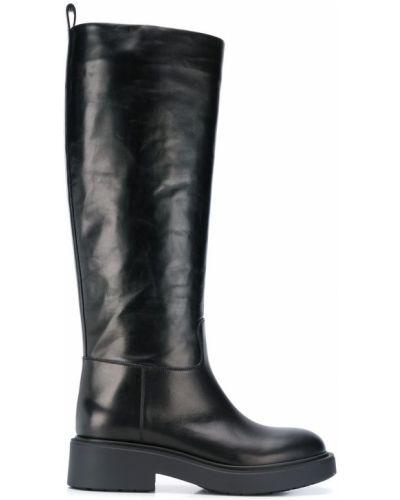 Сапоги на высоком каблуке черные на каблуке Vittorio Virgili