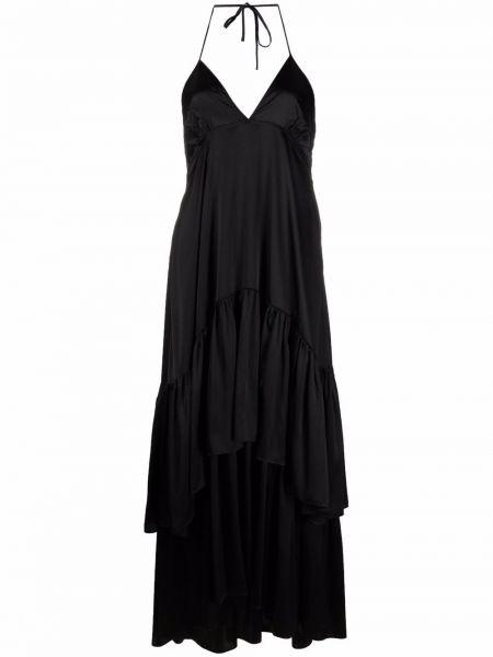 Шелковое черное платье с открытой спиной Lautre Chose