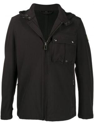 Czarny światło z rękawami kurtka z kapturem z łatami Belstaff