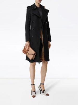 Черное кашемировое вязаное длинное пальто Burberry