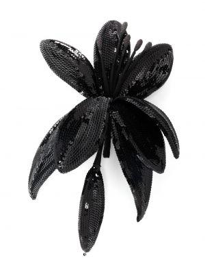 Шелковая черная брошь с пайетками Saint Laurent