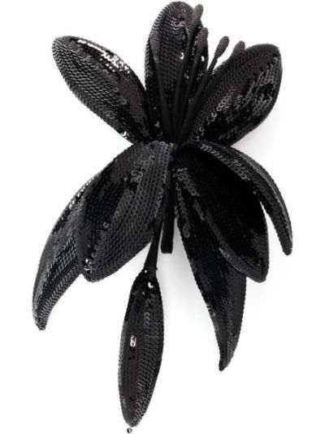 Czarna broszka z jedwabiu Saint Laurent