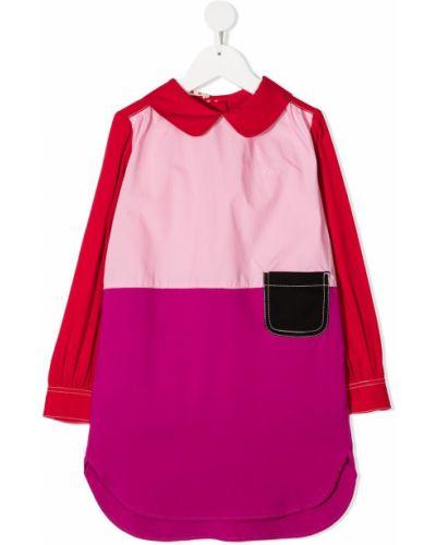 Розовое платье с рукавами на пуговицах с воротником из вискозы Marni Kids