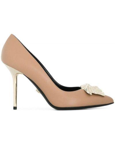 Туфли-лодочки на высоком каблуке кожаные на шпильке Versace