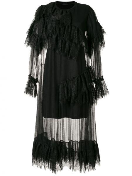 Нейлоновое черное платье миди с оборками с вырезом Goen.j