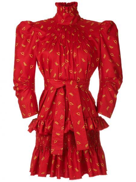 С рукавами красное платье с воротником À La Garçonne