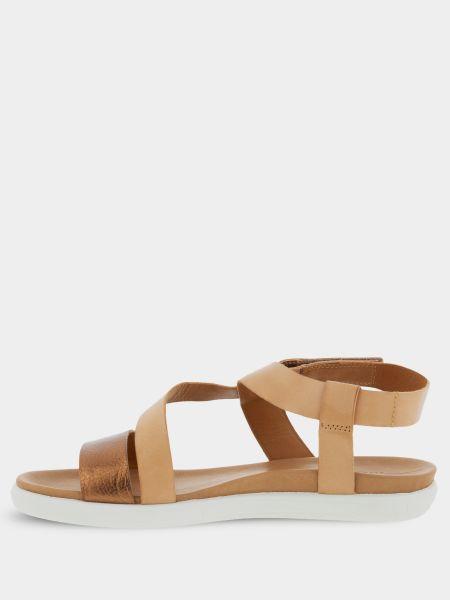 Асимметричные коричневые кожаные сандалии Ecco