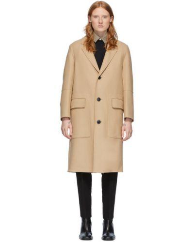 Коралловое шерстяное длинное пальто с воротником Ami Alexandre Mattiussi