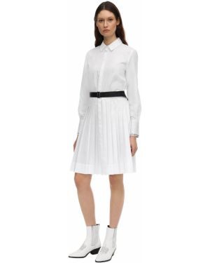Классическое плиссированное платье с вышивкой из поплина Karl Lagerfeld