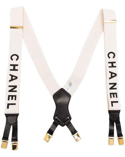 Черные кожаные подтяжки Chanel Pre-owned