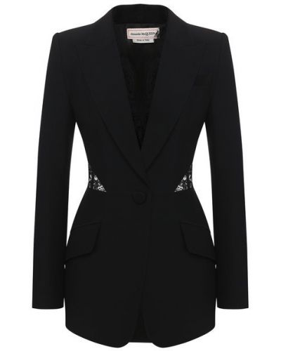 Черный пиджак с подкладкой из вискозы Alexander Mcqueen