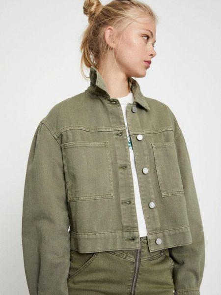 Джинсовая куртка осенняя зеленая Pull&bear