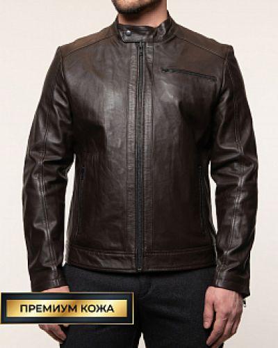 Кожаная куртка с воротником - коричневая каляев