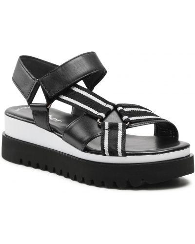 Sandały skórzane - czarne Gabor