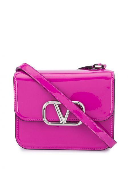 Różowa torebka na łańcuszku skórzana Valentino