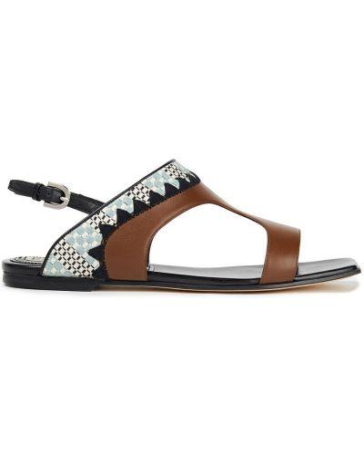 Sandały skorzane z haftem na obcasie Emilio Pucci