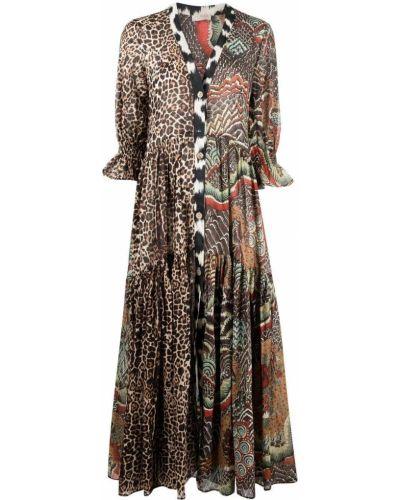 Коричневое платье с оборками с вырезом Anjuna