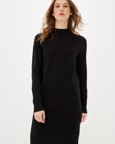 Трикотажное вязаное черное платье Zarina