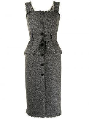 Платье твидовое - черное Kiton
