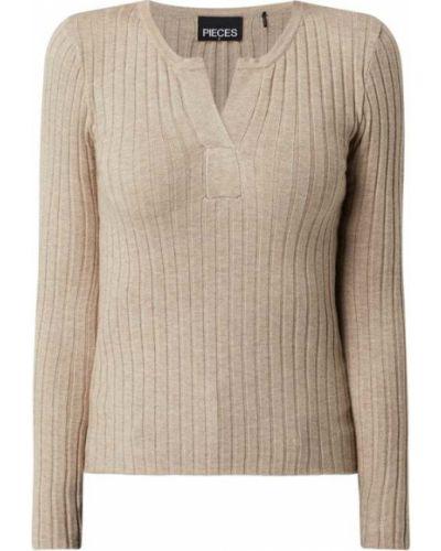 Prążkowany beżowy sweter z wiskozy Pieces