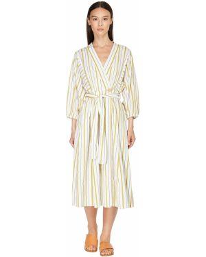 Платье с поясом с запахом в полоску Forte_forte