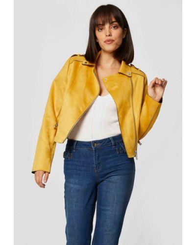 Кожаная желтая кожаная куртка Morgan