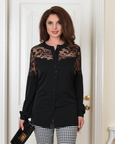 Кружевная блузка с кокеткой с V-образным вырезом на торжество Salvi-s