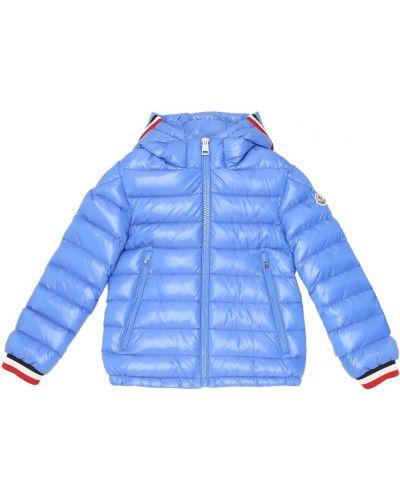 Puchaty niebieski zimowa kurtka Moncler Enfant