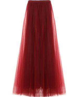 Пышная бордовая юбка макси на молнии с поясом Rhea Costa