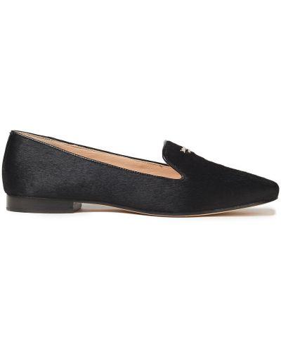 Кожаные черные лоферы на каблуке Kate Spade New York