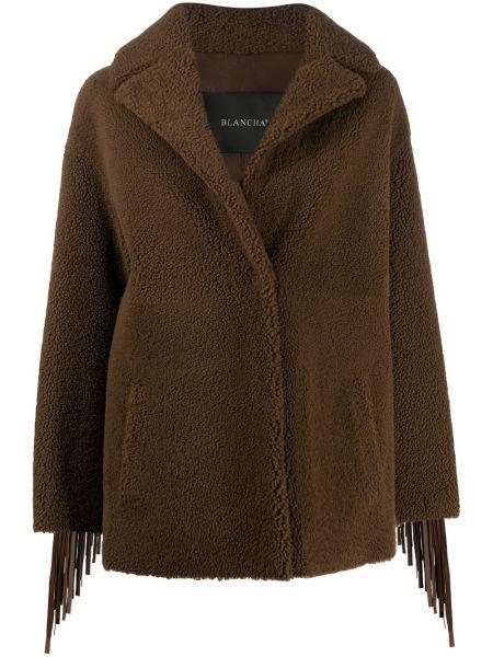 Однобортное коричневое кожаное длинное пальто Blancha