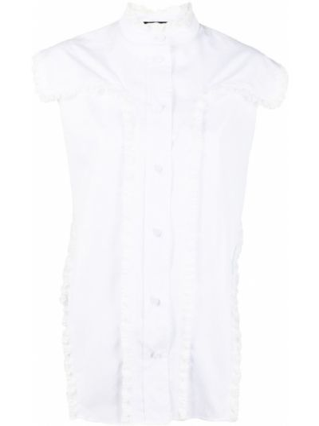 Biała koszula bawełniana bez rękawów Rochas