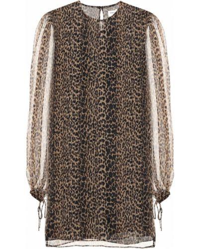 Платье мини леопардовое шелковое Saint Laurent