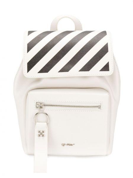 Skórzany plecak biały czarny Off-white