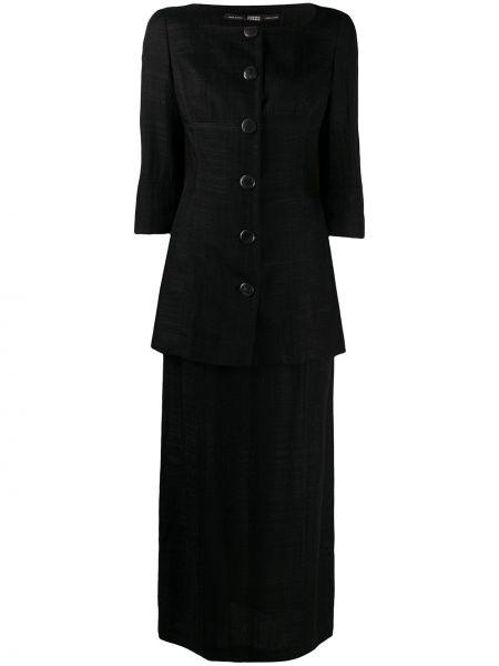 Черная прямая юбка карандаш с вырезом с рукавом 3/4 Gianfranco Ferre Pre-owned