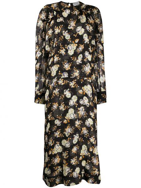 Шелковое черное платье миди с драпировкой с вырезом Victoria Beckham