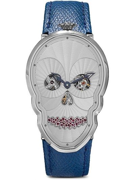 Niebieski zegarek na skórzanym pasku skórzany z diamentem Fiona Kruger