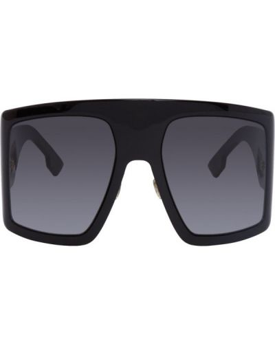 Кожаные черные солнцезащитные очки квадратные Dior